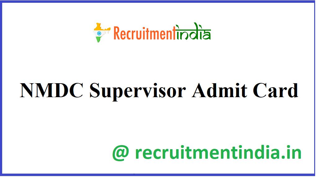 NMDC Supervisor Admit Card