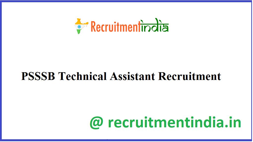 PSSSB Technical Assistant Recruitment