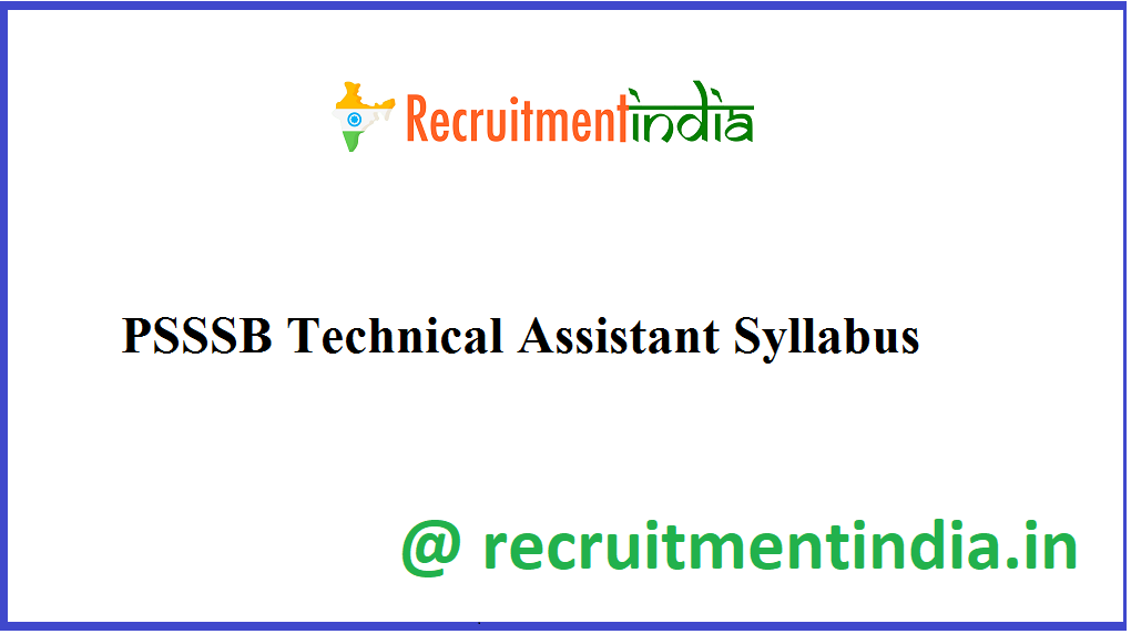 PSSSB Technical Assistant Syllabus