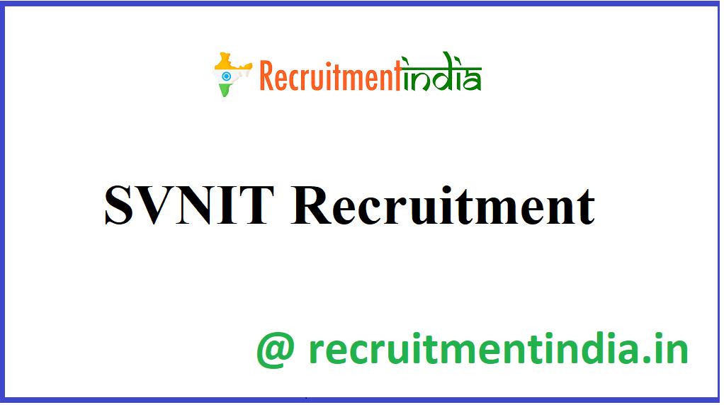 SVNIT Recruitment