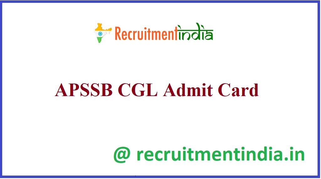 APSSB CGL Admit Card