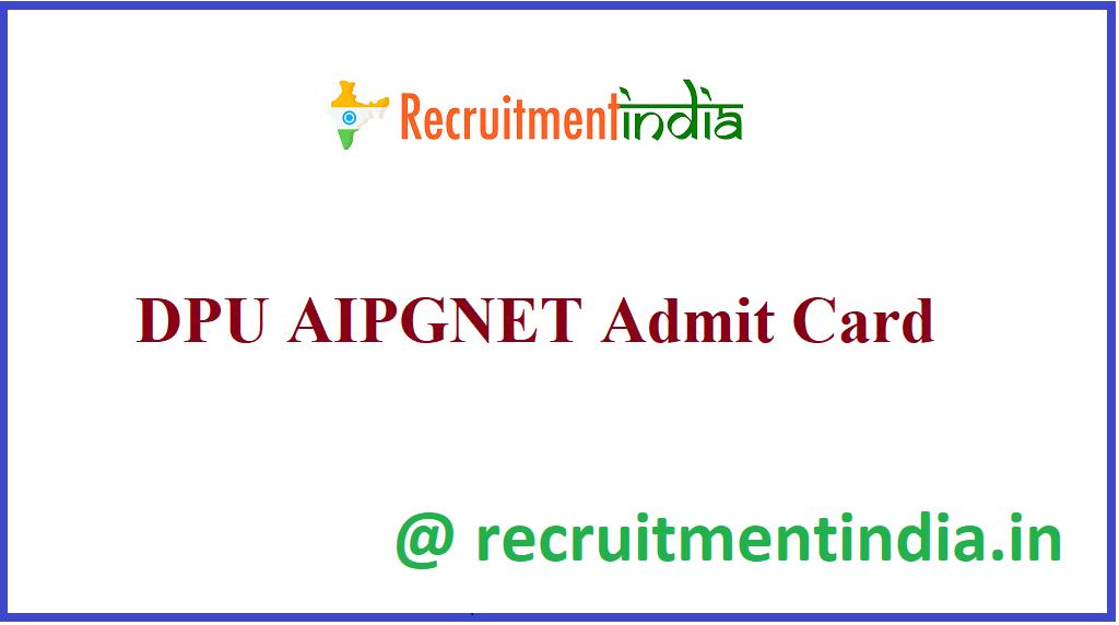 DPU AIPGNET Admit Card
