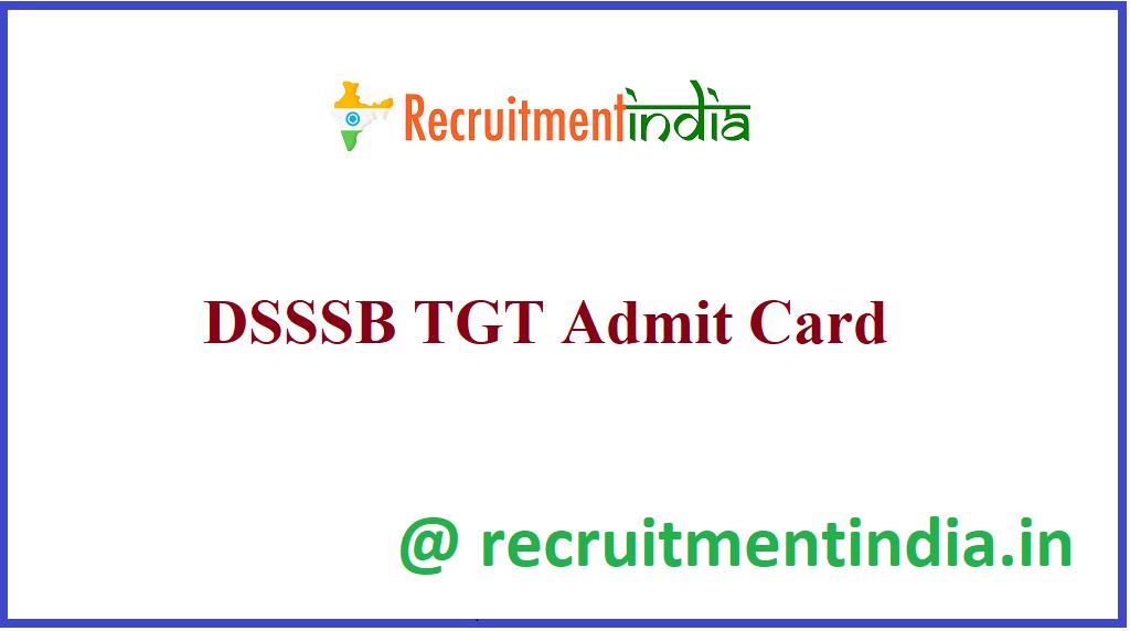 DSSSB TGT Admit Card
