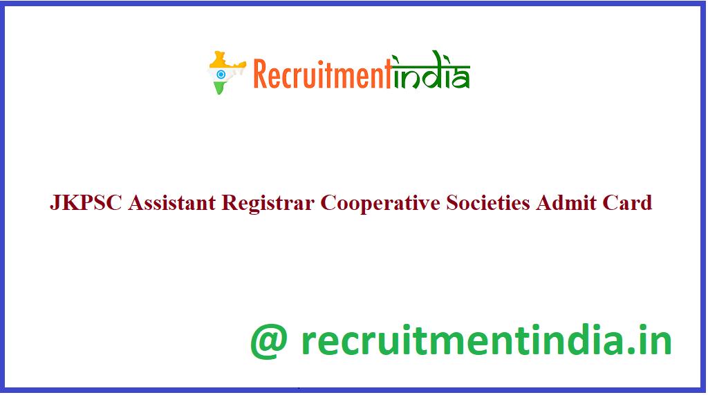 JKPSC Assistant Registrar Cooperative Societies Admit Card