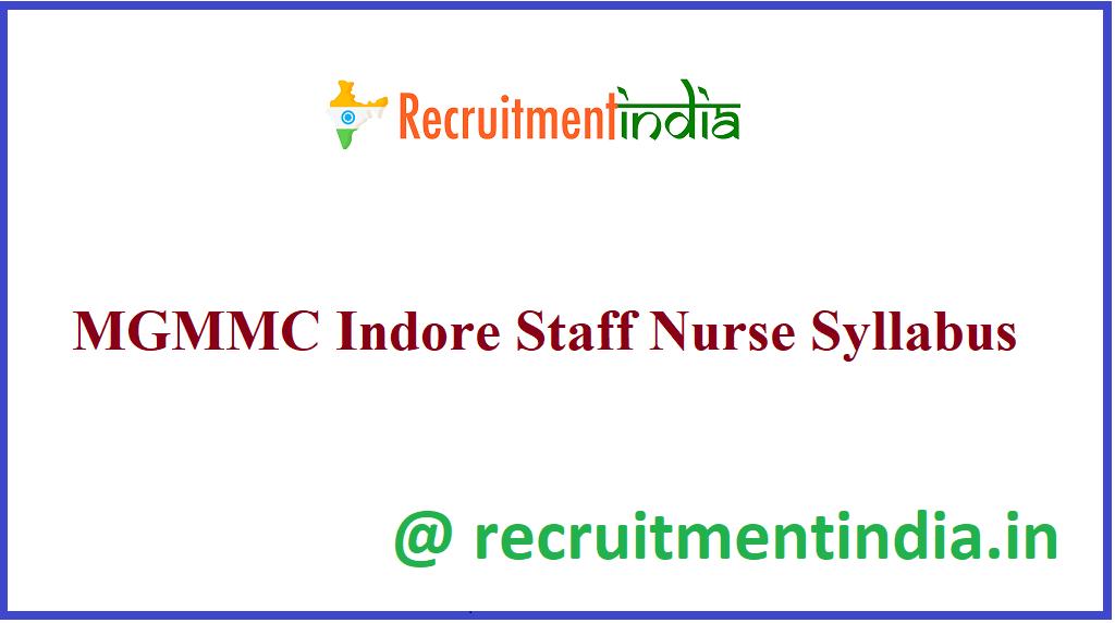 MGMMC Indore Staff Nurse Syllabus