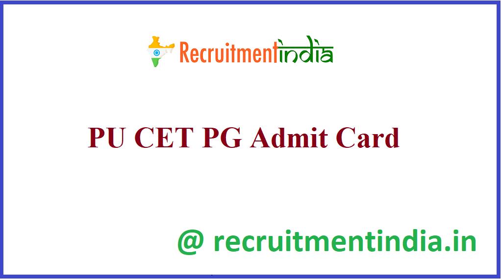 PU CET PG Admit Card