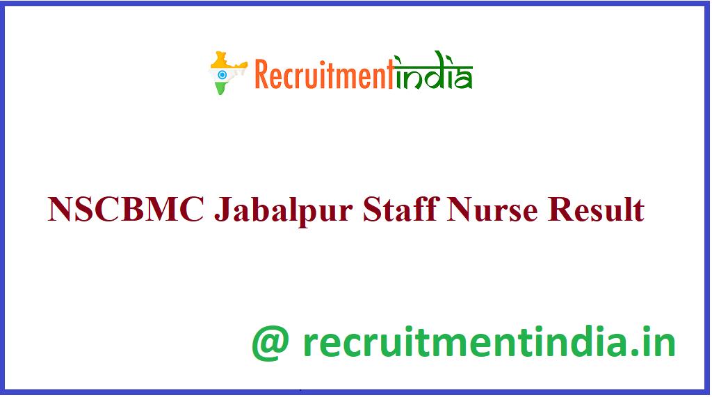 NSCBMC Jabalpur Staff Nurse Result