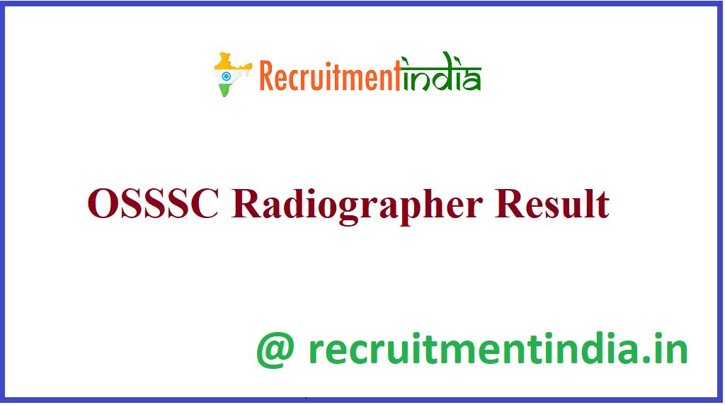 OSSSC Radiographer Result