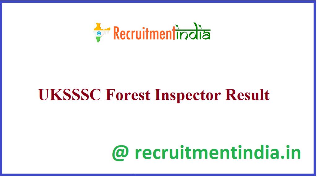 UKSSSC Forest Inspector Result