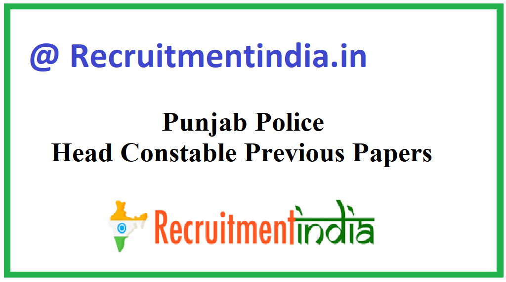 Punjab Police Head Constable Previous Papers