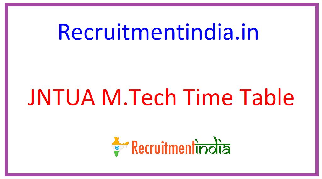 JNTUA M.Tech Time Table