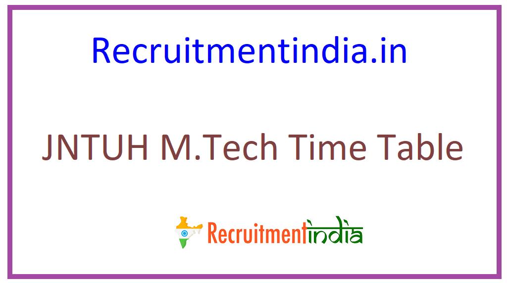 JNTUH M.Tech Time Table