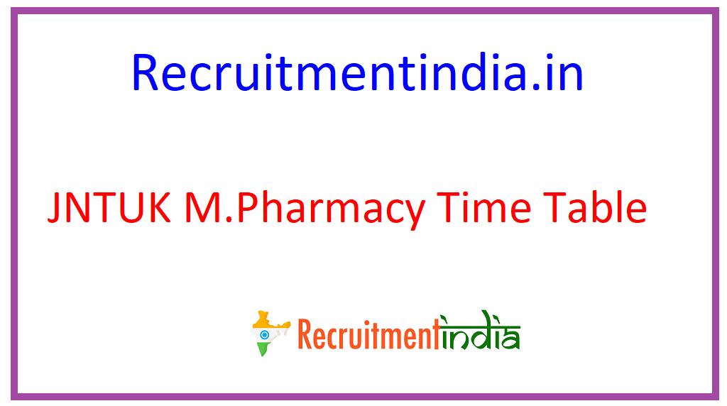 JNTUK M.Pharmacy Time Table